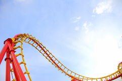 Roller coaster. Track details against the clear blue sky royalty free stock photography