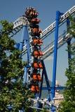 Roller coaster. Train looping the loop on roller coaster amusement park in Gardaland. Italy Stock Photo