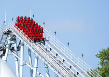 Roller coaster. Red roller coaster ride at funfair theme park royalty free stock photography