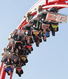 Roller coaster. People ride roller coaster ride fun on family day out at the funfair, Drayton Manor theme park fairground, England Stock Photos