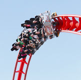 Roller coaster. Ride fun on family day out at the funfair Drayton Manor theme park, England.  Fairground Stock Images