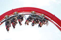 Roller coaster. Ride, people upside down isolated Royalty Free Stock Images