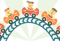 Roller Coaster. Frightened children on a roller coaster Royalty Free Stock Photo