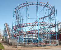 Roller coaster. Before opening time at a small amusement park Royalty Free Stock Photo