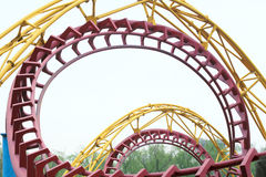 Roller coaster. The close-up of orbit of roller coaster royalty free stock photos