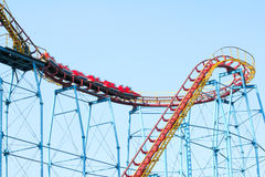 Roller coaster. The roller coaster train are moving fast Stock Photography