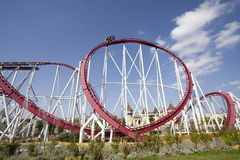 Roller coaster. Wide angle shot of a roller coaster path Royalty Free Stock Images