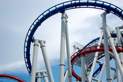 Roller Coaster. With red and blue lines Royalty Free Stock Photos