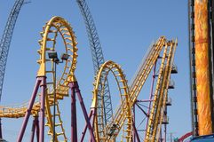 Roller Coaster 4. Large roller coaster on bright clear day Royalty Free Stock Photography