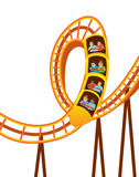 Roller Coaster. Speedy Roller Coaster with Passengers Holding On stock illustration