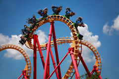 Roller Coaster. Scary Fun On An Upsidedown Roller Coaster royalty free stock photos