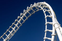 Roller coaster. Corkscrew in a roller coaster track Royalty Free Stock Image