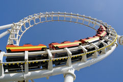 Roller coaster. Passing through a loop Royalty Free Stock Photos