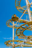 Roller coaster. Against blue sky stock photo