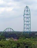 Roller coaster in an amusement stock photos