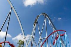 Roller Coaster in Amusement Entartainment Theme Park Stock Photo