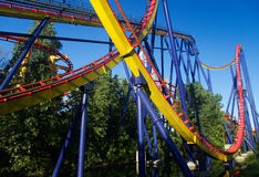 Roller coaster in amusement park Stock Images