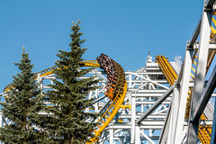 .Roller coaster at the amusement Park Stock Images