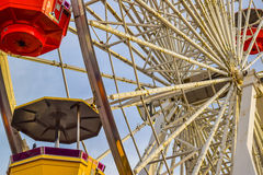 The roller coaster at the amusement park on the Santa Monica Pier in Santa Monica, California Royalty Free Stock Image