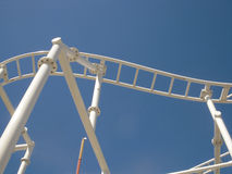 Roller Coaster Amusement Ride Tracks with Blue Sky Stock Photos