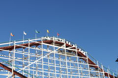 Roller coaster with blue sky Stock Image