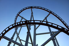Roller coaster with blue sky. Detail of roller coaster with blue sky Stock Photography