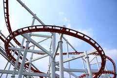 Roller coaster with blue sky. Detail of roller coaster with blue sky Stock Photos