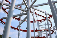 Roller coaster with blue sky. Detail of roller coaster with blue sky Royalty Free Stock Images