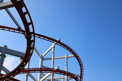 Roller coaster with blue sky. Detail of roller coaster with blue sky Royalty Free Stock Image
