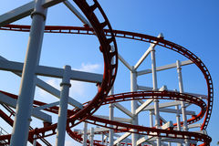Roller coaster with blue sky. Detail of roller coaster with blue sky Stock Photo
