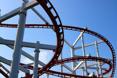 Roller coaster with blue sky. Detail of roller coaster with blue sky Royalty Free Stock Photo