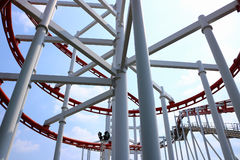 Roller coaster with blue sky. Detail of roller coaster with blue sky Stock Images