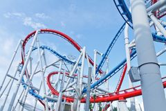 Roller coaster with blue sky Royalty Free Stock Photos