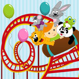 Roller coaster boy and animals Stock Image