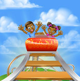 Roller Coaster Cartoon. Cartoon children riding on a roller coaster ride at a theme park or amusement park vector illustration