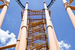 Roller coaster central view Royalty Free Stock Image
