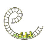 Roller coaster for children and adults. Dead loops, dangerous turns, terrible rides.Amusement park single icon. In cartoon style vector symbol stock web Stock Image