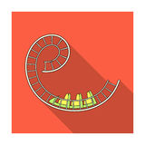 Roller coaster for children and adults. Dead loops, dangerous turns, terrible rides.Amusement park single icon in flat. Style vector symbol stock web Stock Image