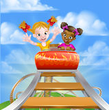 Roller Coaster Children. Cartoon girls riding on a roller coaster ride at a theme park or amusement park Royalty Free Stock Image