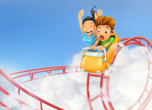 Roller coaster in the clouds Stock Image