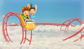 Roller coaster in the clouds Royalty Free Stock Photos