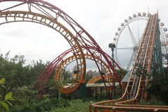 The Roller coaster curved track in the Amusement park,SHENZHEN,CHINA Royalty Free Stock Photography