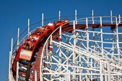 Roller coaster de madera Imagen de archivo libre de regalías
