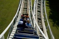 Roller coaster de madera Imagenes de archivo