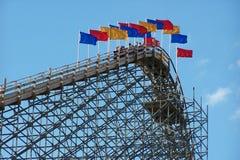 Roller coaster di legno Fotografie Stock Libere da Diritti