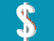 Roller coaster on dollar sign depicting up and downs of business. Concept business illustration. Vector metaphor business Royalty Free Stock Photo