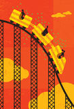 Roller coaster economy. Business people losing money riding the roller coaster economy. The people & roller coaster and background are on separate labeled layers stock illustration