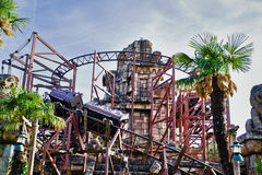 Roller Coaster in Eurodisney. Paris Royalty Free Stock Photo