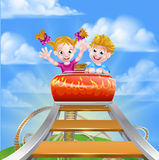 Roller Coaster Fair Theme Park. Cartoon boy and girl children riding on a roller coaster ride at a theme park or amusement park royalty free illustration