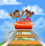 Roller Coaster Fair Theme Park. Cartoon boy and girl kids riding on a roller coaster ride at a theme park or amusement park royalty free illustration